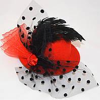 Шляпка с вуалью в горошек (красная)