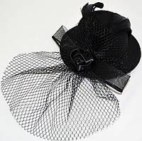 Шляпка с вуалью и розочкой (черная)