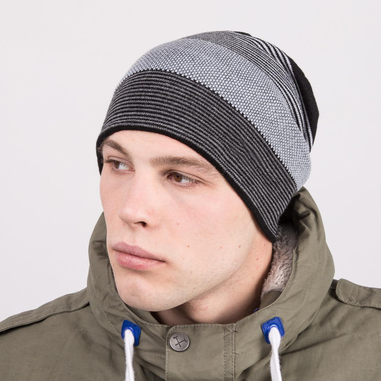 Мужская вязаная шапка колпак на зиму - Артикул m63b