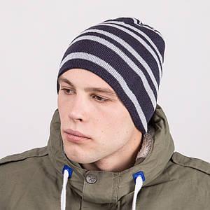 Мужская шапка колпак в полоску вязаная на зиму - Артикул m64a