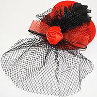 Шляпка с вуалью и розочкой (красная)