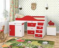 """Кровать чердак """" Горка"""" красная с белым"""