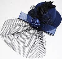Шляпка с вуалью и розочкой (синяя)