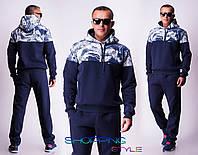 Теплый мужской спортивный костюм на флисе 2 цвета
