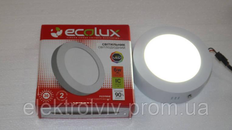 Светильник LED панель 6w ECOLUX круглый наружный, фото 2