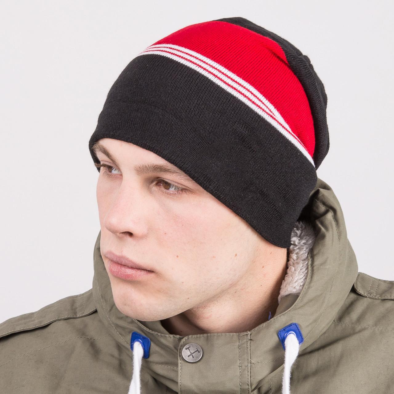 Вязаная шапка колпак на зиму мужская - Артикул m67b