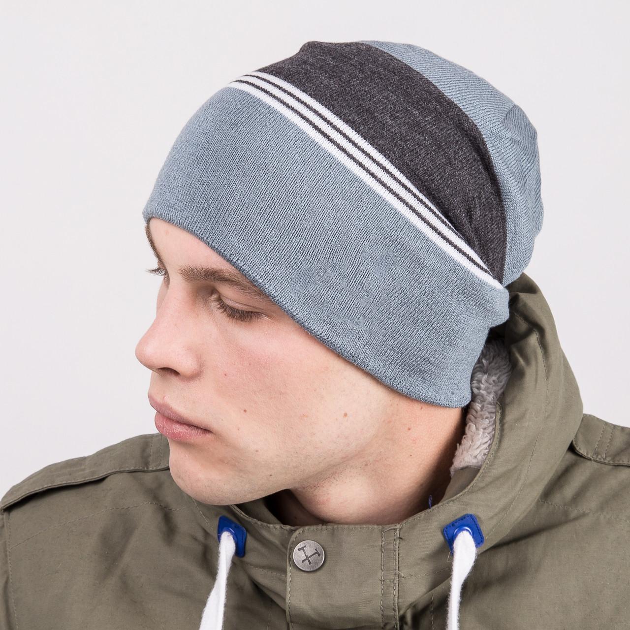 Вязаная шапка колпак на зиму мужская - Артикул m67c