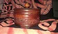 Шкатулка круглая резная деревянная