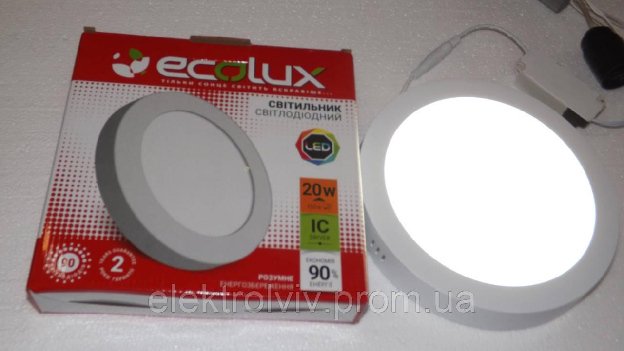 Світильник LED панель 16w ECOLUX круглий зовнішній