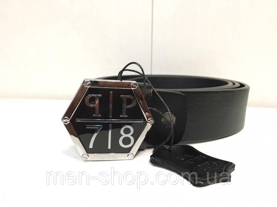 Ремень кожаный в стиле Philipp Plein ромб черный