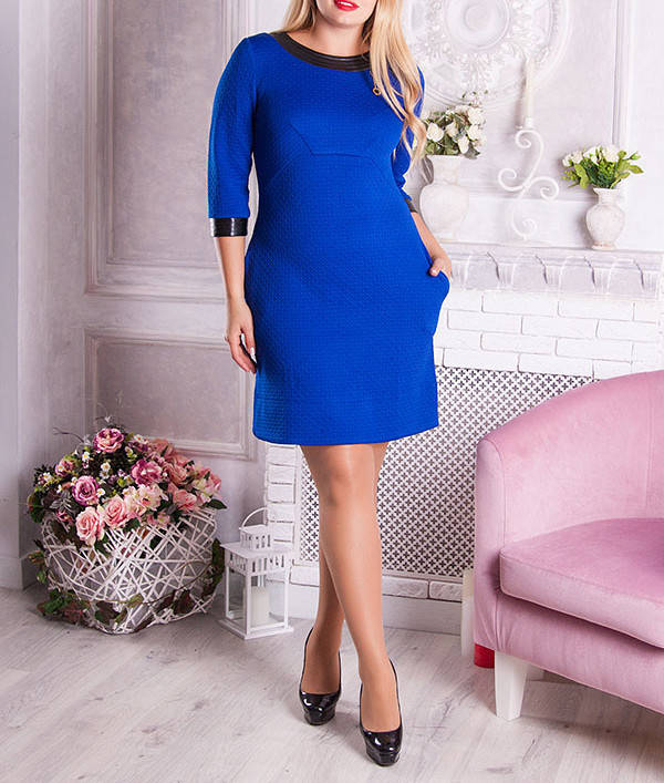 """Платье-трапеция из стеганого трикотажа  """"Мавра"""", размеры от 48 по 56"""