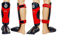 Защита для голени и стопы Муай Тай, ММА, Кикбоксинг кожанная RIVAL черно-красный