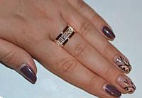 """Серебряное кольцо """"Спаси и сохрани"""" с накладками золота"""
