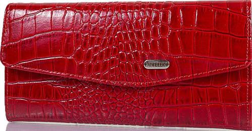 Яркий женский кожаный кошелек с тиснением под кожу крокодила CANPELLINI SHI2029-142 красный