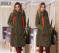 Женское теплое пальто с капюшоном и карманами