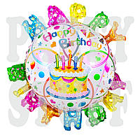 Фольгированный шар с буквами по краям Happy Birthday