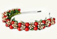 Обруч для девочки с золотистым декором и ягодами калины