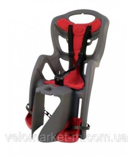 Сидіння задн. Bellelli PEPE Сlamp (на багажник) до 22кг, сіре з червоною підкладкою
