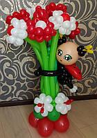 """""""Обнимашки"""" для цветов из воздушных шаров с божьей коровкой (7 хризантем)"""