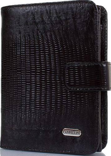 Аккуратный женский кожаный кошелек с тиснением под кожу змеи CANPELLINI SHI968-8 черный