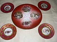 5 настенных тарелок посвящ. Отечественной войне 1812 г., нач ХХ века