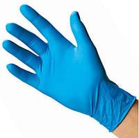 Нитрил не опудренный плотный Ярко голубой  упаковка 100шт