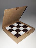 Подарочная коробка из крафт-картона для конфет, 185*185*30