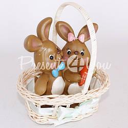 Фигурка «Кролики в корзине», h-14 см.