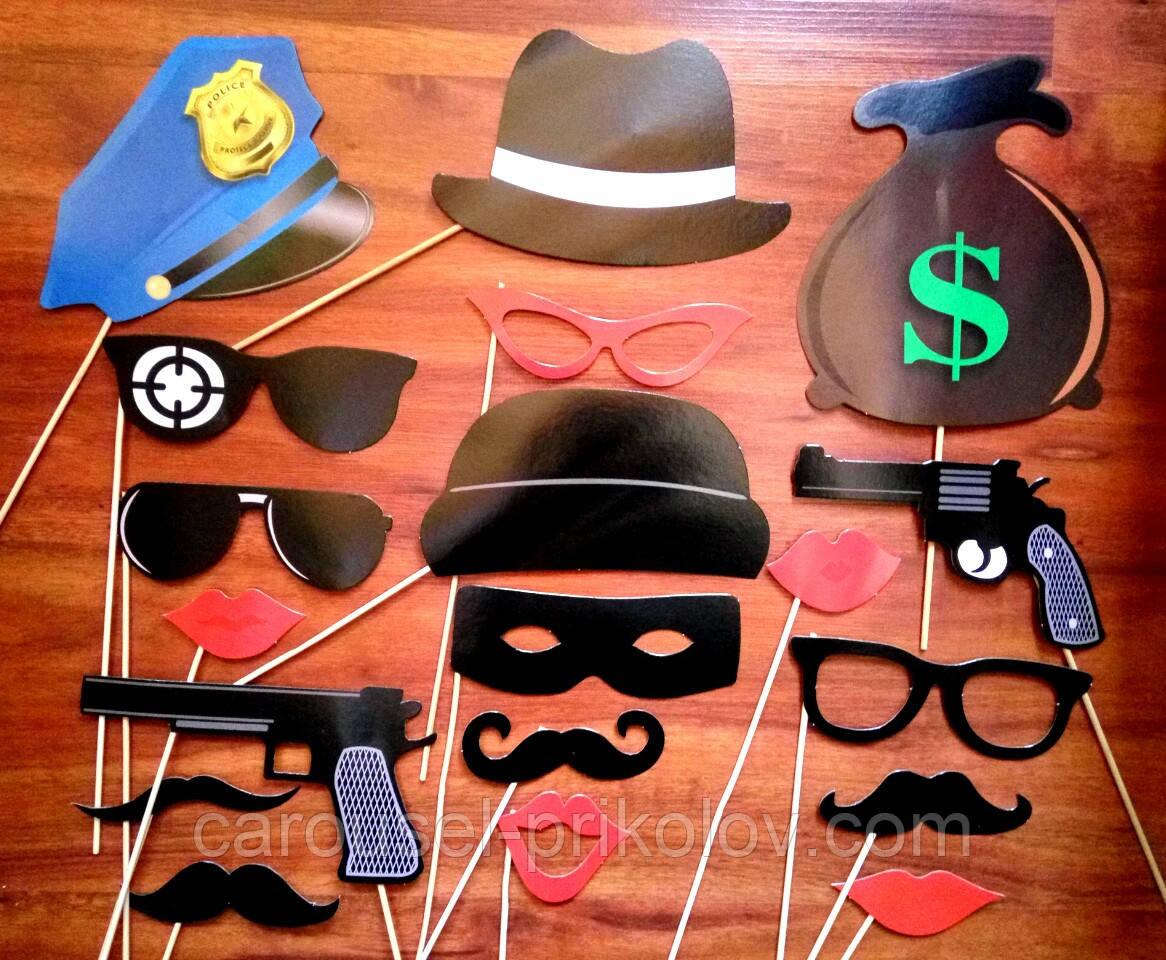 Фотобутафория полиция фуражка, пистолеты, губы, усы, очки, шляпы  19 предметов