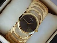 Женские кварцевые наручные часы Calvin Klein в форме браслета - черный циферблат, фото 1