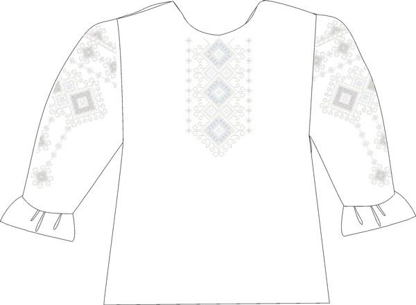 СВДЛ-5. Заготовка для вишивки бісером Дитяча блузочка лляна сіра.