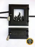 Дверцы для печи и барбекю со стеклом Калина Черная, печные дверцы со стеклом