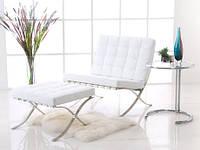 Кресло, оттоманка Барселона белые