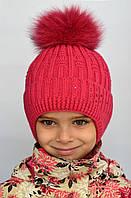 Зимняя шапка для девочки Снежинка Арктик, балабон из песца (ОГ 48-54)