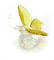 Хрустальная бабочка на шаре желтая