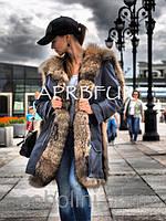 "Парка джинса (деним) с мехом шикарного енота ""Michele"" , пошив с 42-56 размер"