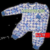 Детская байковая пижама с начесом р. 122 ткань ФУТЕР 100% хлопок ТМ Алекс 3487 Синий