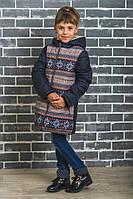Пальто зимнее для девочки темно-синее