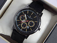 Мужские (женские) кварцевые наручные часы Vacheron Constantin на кожаном ремешке с датой