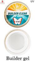 Моделирующий 3-фазный прозрачный гель F.O.X Builder Clear gel UV,15 мл