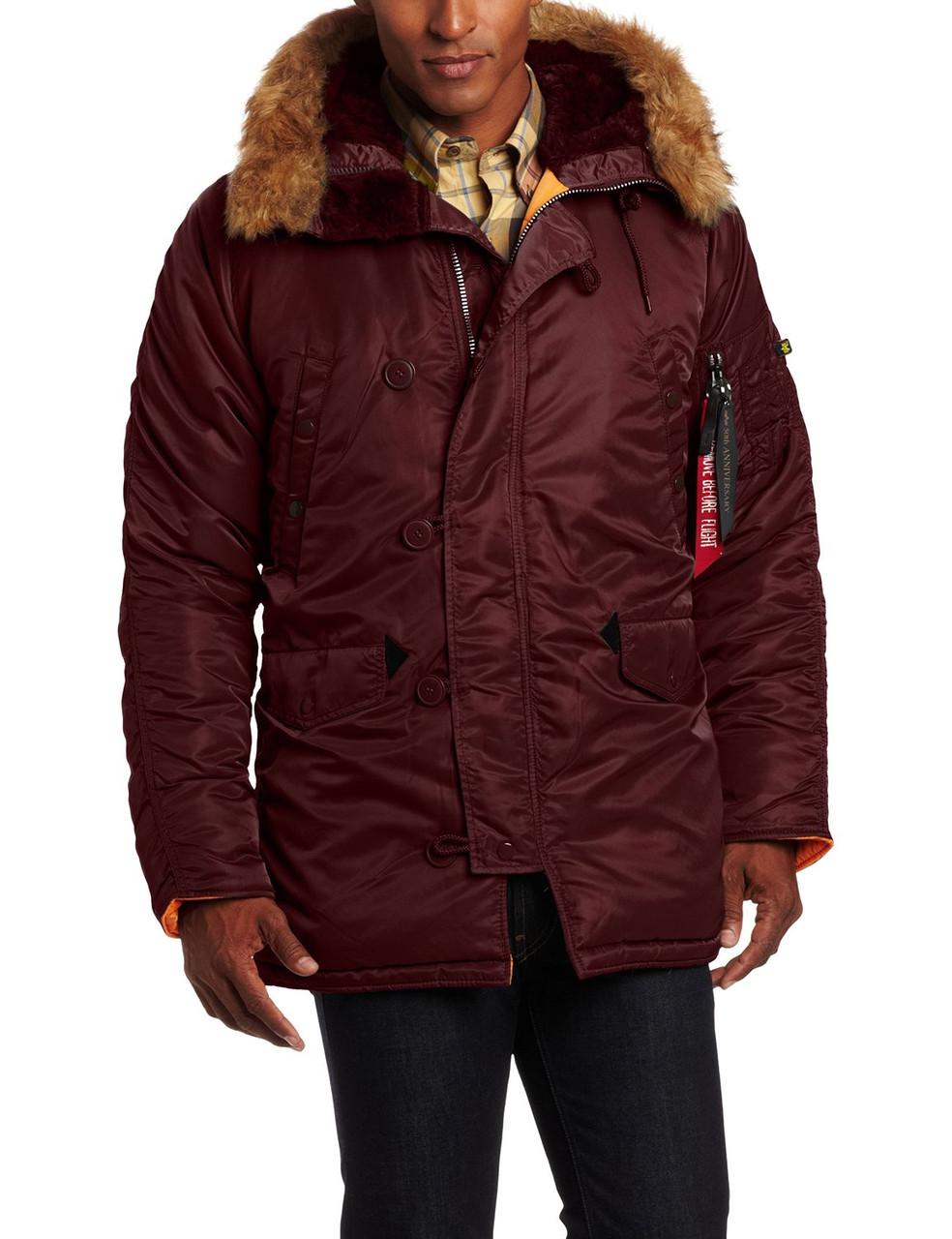 df6eb7d2 Куртка Alpha Slim Fit N-3B Parka Maroon/Orange интернет магазин одежды