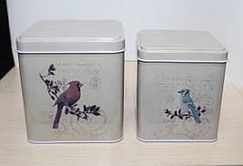 """Набор из 2 банок """"Птицы"""" для чая и кофе (сахара, печенья)"""
