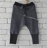 Штаны унисекс с накладной деталью, синий рябчик. Размеры: 104-110 см, фото 1