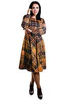Женское трикотажное платье коричневого цвета клетка, фото 1