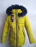 Детская / подростковая зимняя куртка / пальто для девочки, р. 146