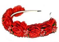 Красный ободок с розами
