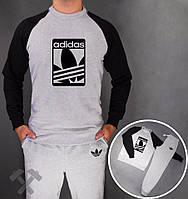 Спортивный костюм адидас, серое туловище и штаны, черные рукава, реглан, ф3707