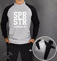 Спортивный костюм серое туловище, черные рукава и штаны, ф3718