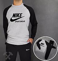 Спортивный костюм найк спортсвё, черные штаны и рукава, серое туловище, ф3776