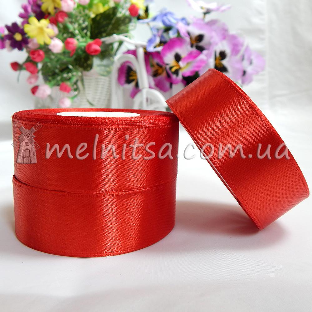 Атласная лента 2,5 см, №26 красный, рулон 23 м